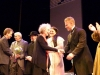 Composer Tobin Stokes and librettist Margaret Atwood congraulate the cast of 'Pauline' on opeing night